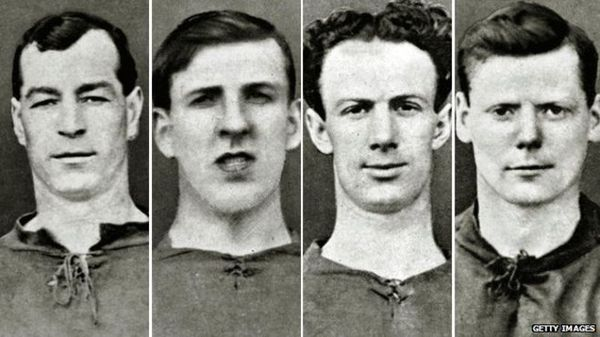 I quattro giocatori del Liverpool che vendettero la partita con lo United: Tom Fairfoul, Tom Miller, Bob Pursell e Jackie Sheldon