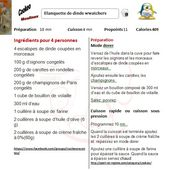 Fiche recettes cookeo blanquette de dinde weight watchers |