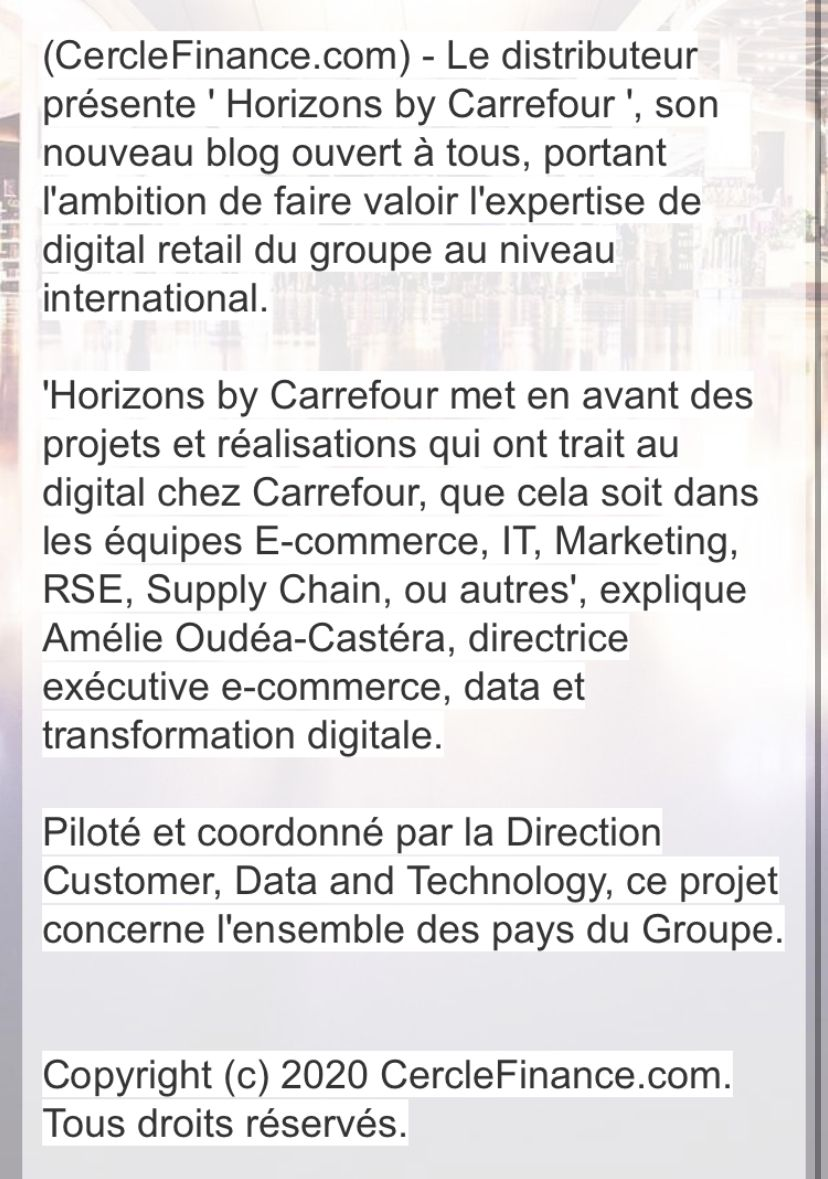 Carrefour: Présente sa transformation digital via un blog