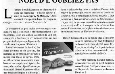 """Le """"Mémento de la Mémoire"""" fait parler de lui"""