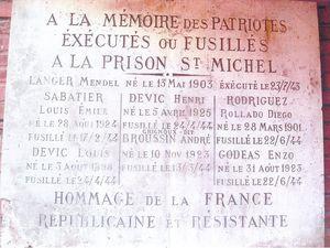 Lieu mémoir actuel dans la cour d'honneur de la Maison d'Arrêt St Michel