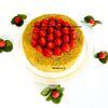 Réinterprétation de l'entremets DESIRE de Pierre Hermé : palet breton, biscuit moelleux citron, compote fraise-banane, crème mousseuse citron jaune et citron vert, fraises