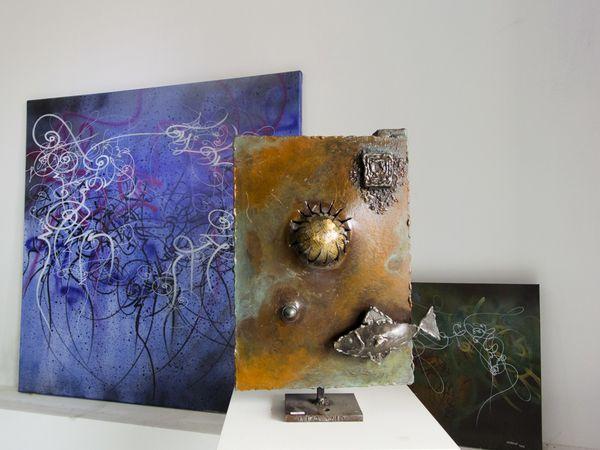 Serge Bruna, sculpture, et José De Matos, peinture, animation graphique, artiste à Eus