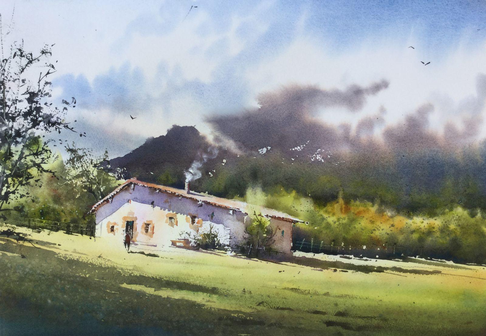 Séjour artistique dans les Landes: domaine de Preuilh Morcenx 40110 Stage d'aquarelle en immersion totale avec Thierry de Marichalar