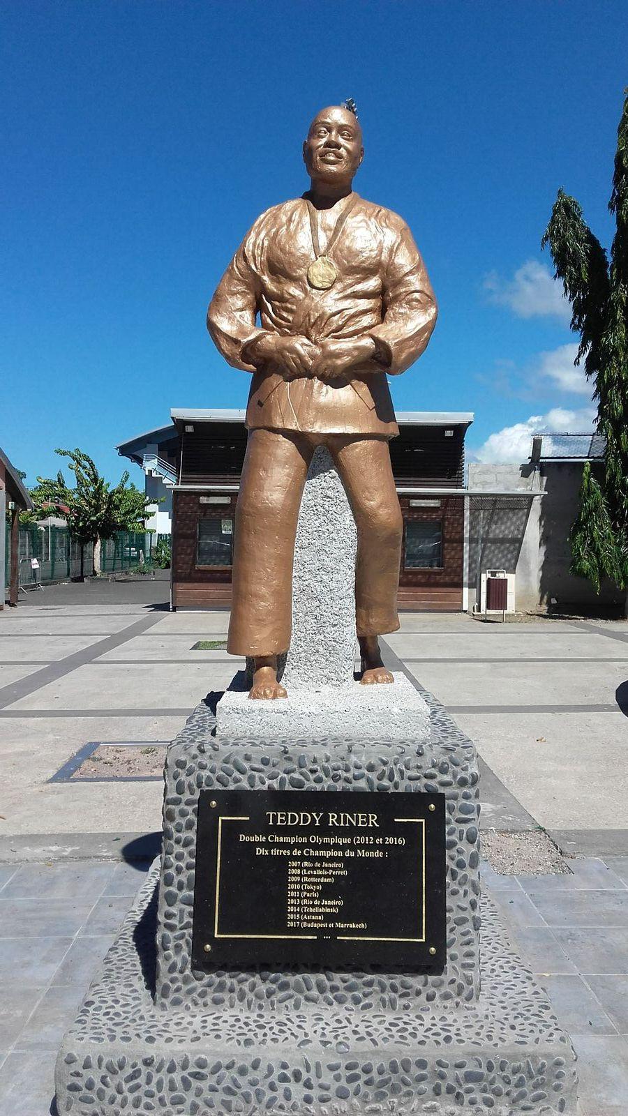 Teddy Riner, judoka, statue, champion du monde, Vieux-Habitants, Basse-Terre, Guadeloupe, Antilles,