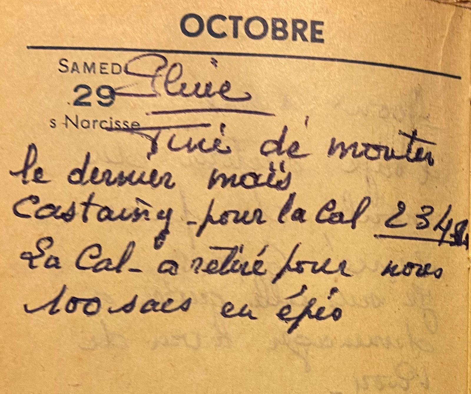 Samedi 29 octobre 1960 - les sacs d'épis