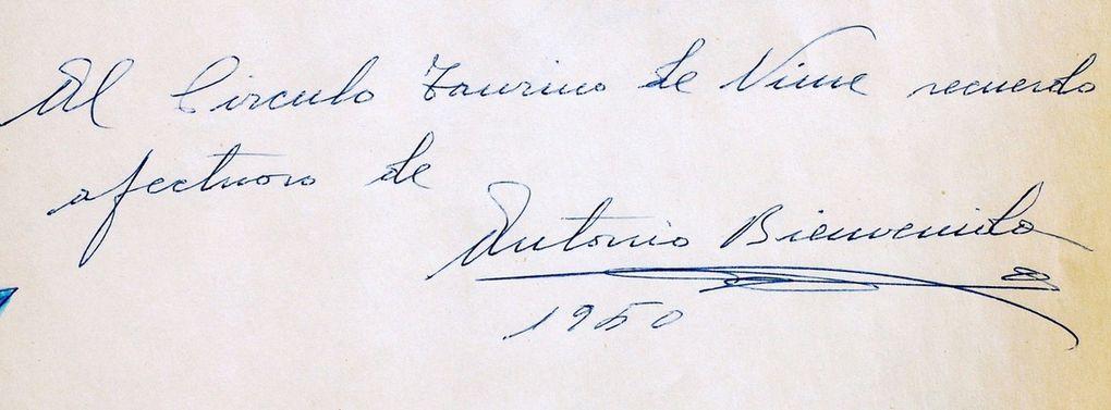 Extrait du Livre d'Or Conservé au Musée des Cultures Taurines de Nîmes