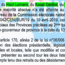 RDC :  Deuxième tour pour l'élection des gouverneurs dans 5 provinces