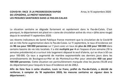 Renforcement des mesures sanitaires : le communiqué de la Préfecture du Pas-de-Calais