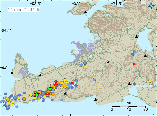 Reykjanes Peninsula - location and magnitude of earthquakes at 03.21.2021 / at 7.45 a.m. - Doc. IMO
