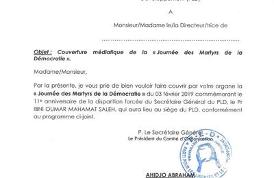Programme de la journée des Martyrs au Tchad