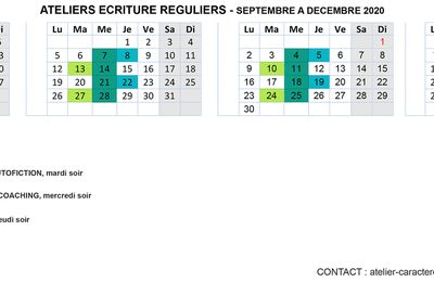 CALENDRIER ATELIERS ECRITURE CARACTERE