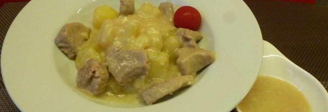 filet mignon de porc au camembert, mozzarella et pommes de terre