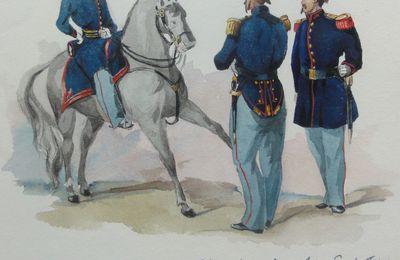 aquarelle sapeurs pompiers  chef de bataillon ,officier en tenue de feu et sapeur en grande tenue  ,1850