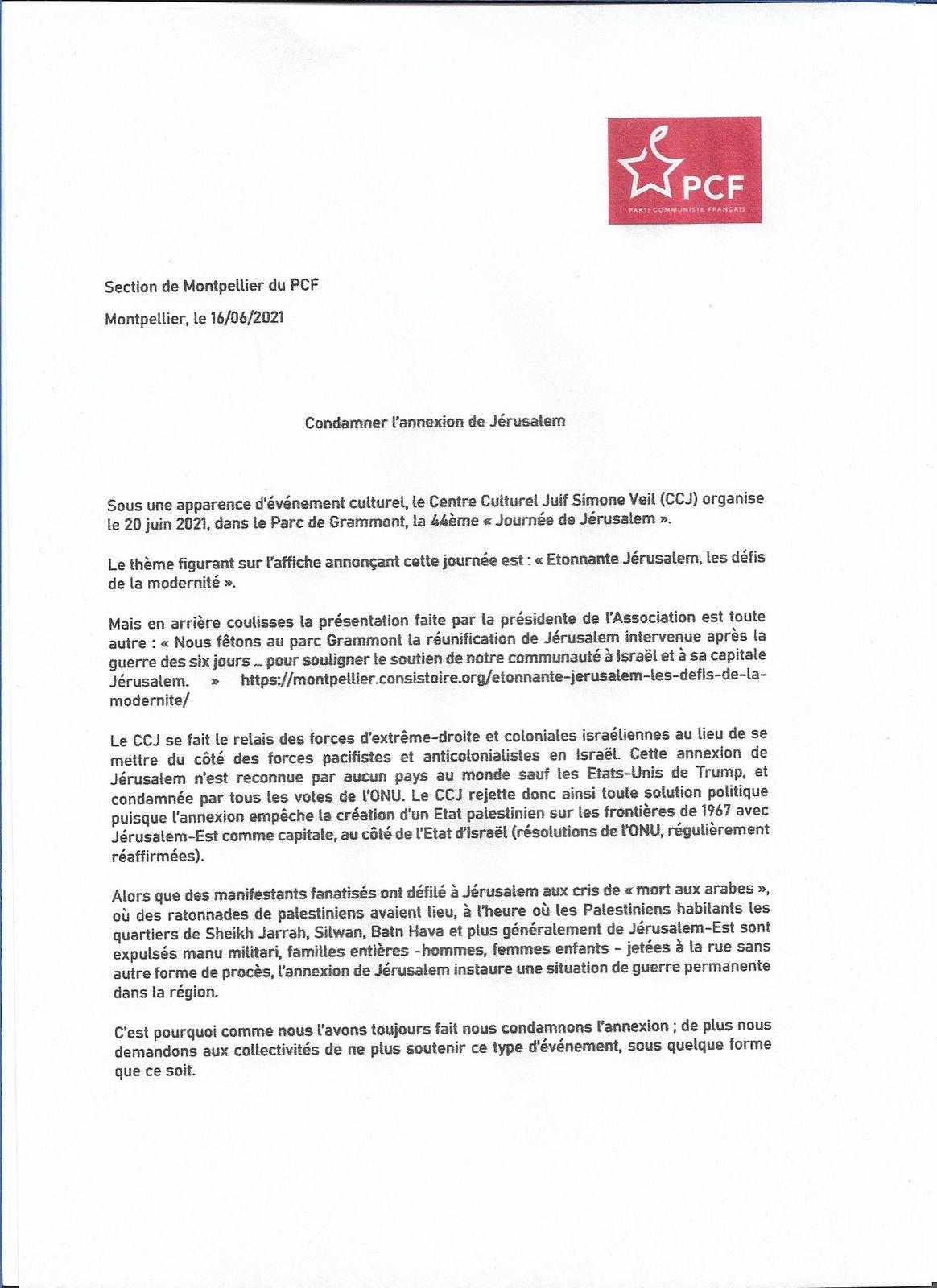 La section de Montpellier du PCF et la journée de Jérusalem