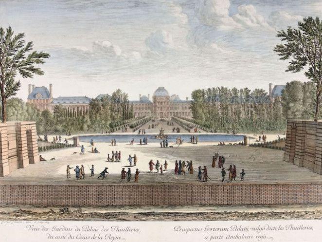 Jardin des Tuileries côté cours au XVII° siècle-tableau d'Israël Silvestre 162161691-