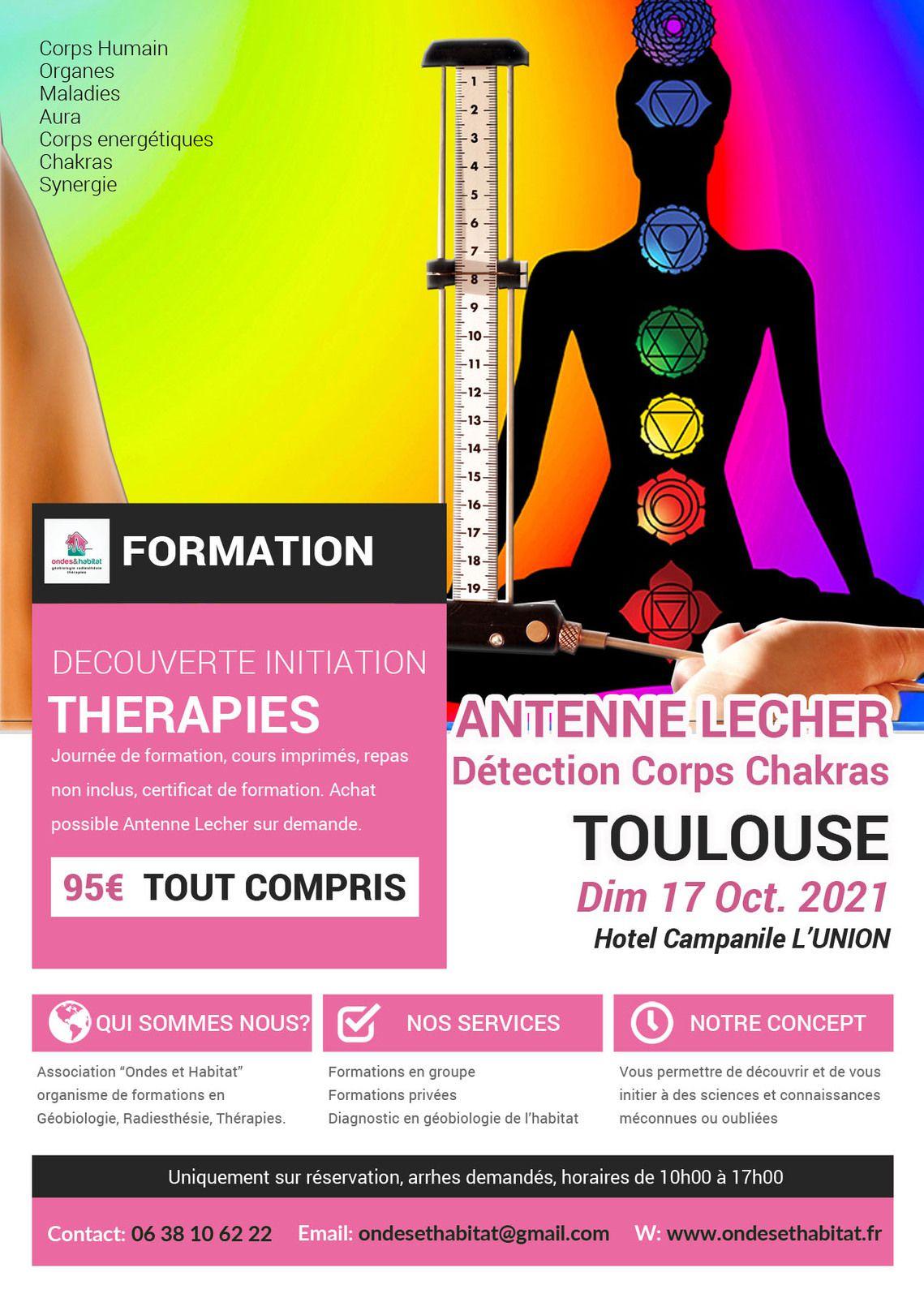 """TOULOUSE - FORMATION Antenne LECHER : """"Détection Soins énergétiques» Chakras, aura, corps humain et énergétique, synergie, organes, maladies. Dimanche 17 octobre 2021"""