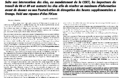InFOs CSE EXTRAORDINAIRE DO GSE OCTOBRE 2020: Réponse à l'inspection du travail.
