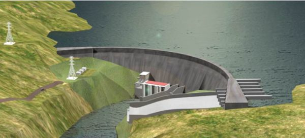 A computer rendition of the Barro Blanco Dam after completion