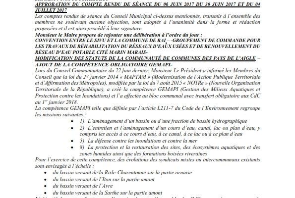 Réunion du Conseil Municipal en date du 05 septembre 2017