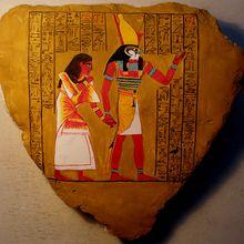 Peinture sur pierre - Papyrus d'Ani - le dieu Horus présente Ani au dieu Ounennéfer