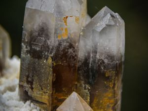 Smoky Quartz on Microcline and Albite from Papachaira, Argentine (size: Museum)