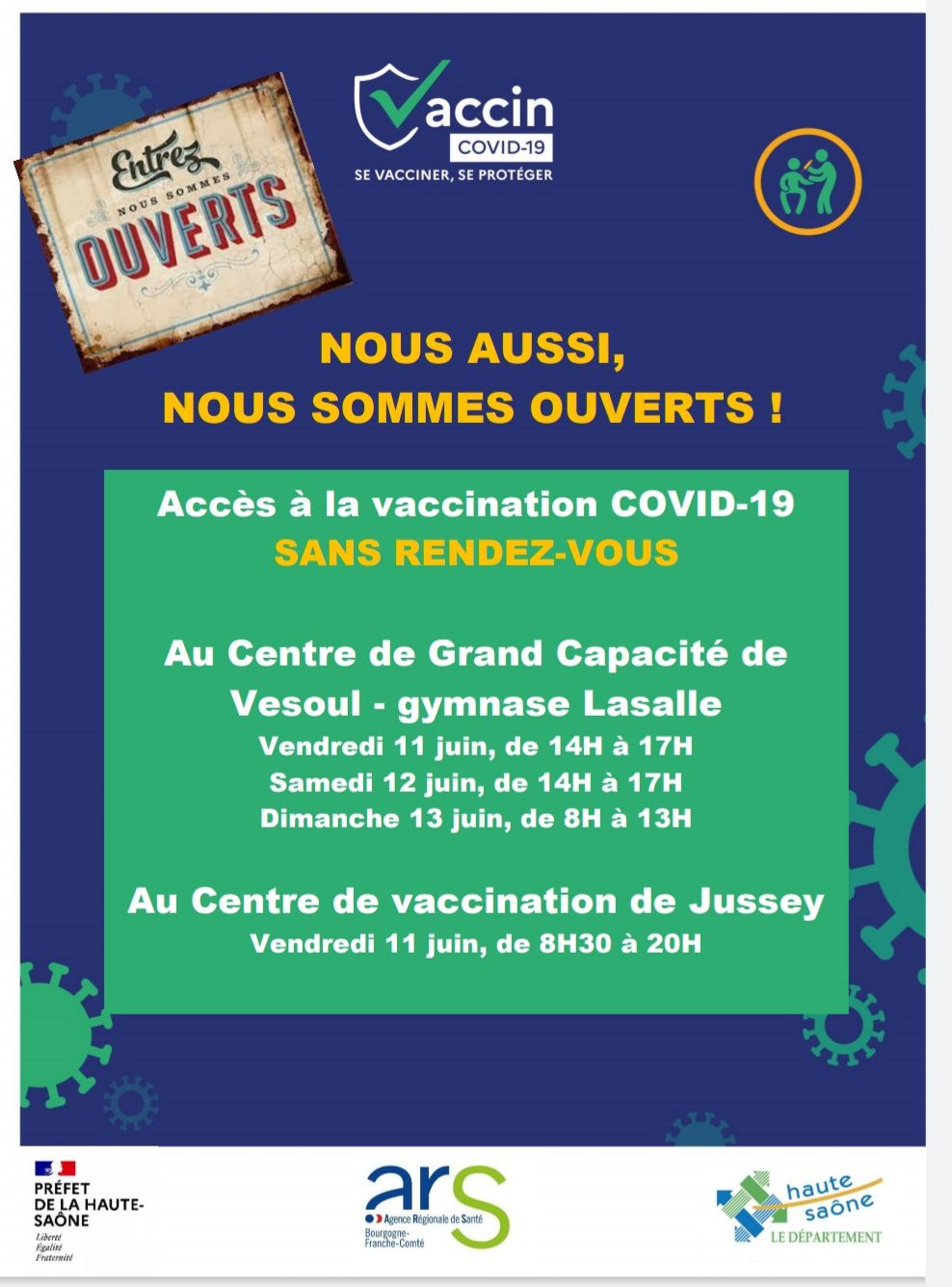Covid 19 : vaccination possible sans RDV