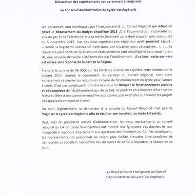 LP Vercingétorix: honte aux représentants de la Région