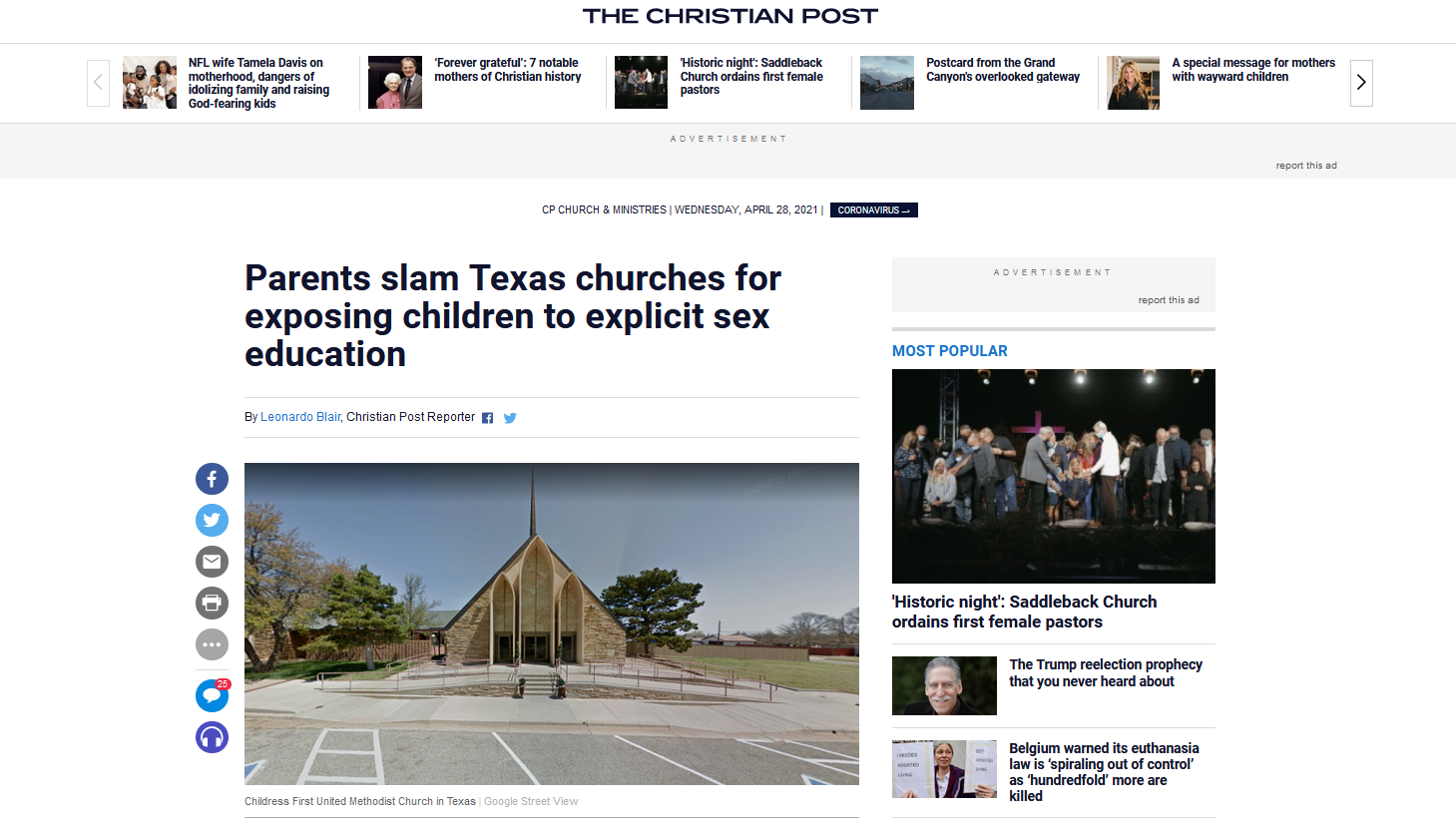 """Etats-Unis : Des églises donnent des leçons de sexe """"explicites"""" aux enfants à l'école du dimanche, les parents se révoltent"""
