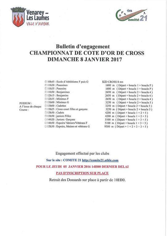 Championnats de Côte d'Or de Cross 2017    Dimanche 08 Janvier 2017 à VENAREY-LES-LAUMES