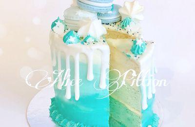 Gâteau drip cake ocean - gâteau dégradé en crème ombre cake