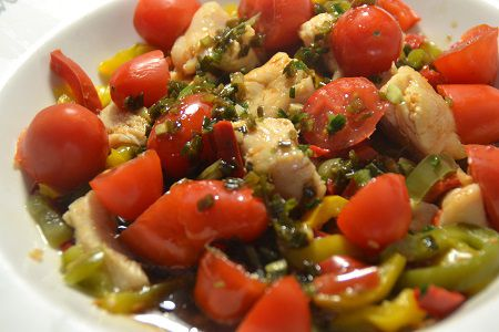 Préparation cookeo salade poivrons tomates