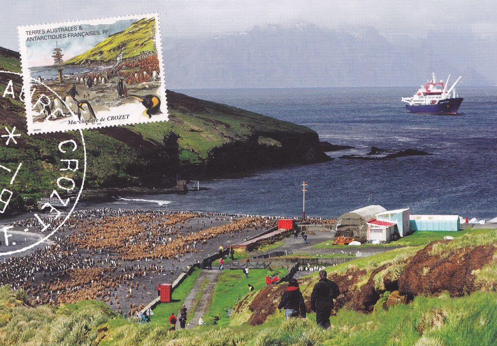 Diverses représentations du Marion Dufresne sur des timbres, carnets, ou entiers postaux.