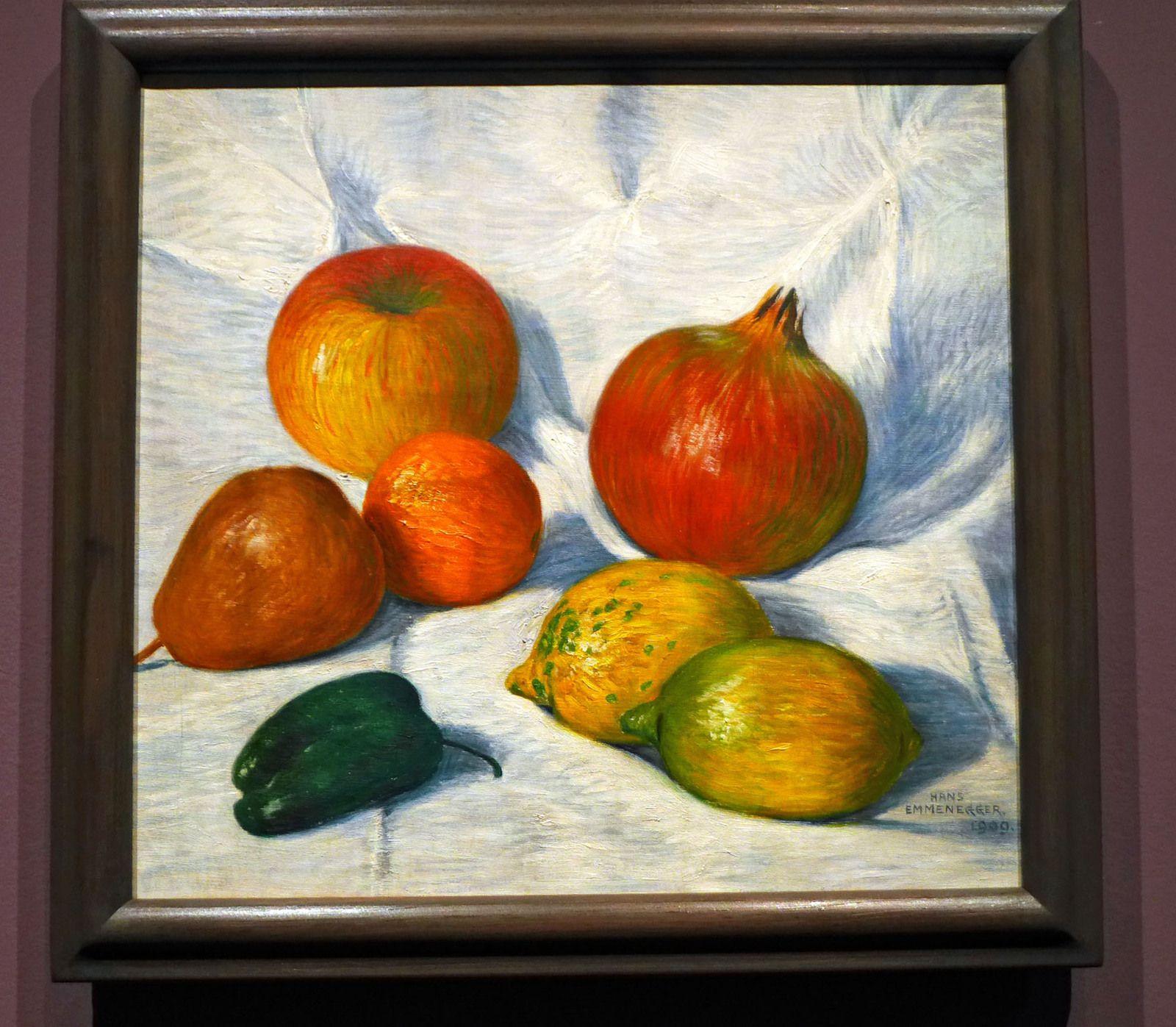 Hans EMMENEGGER, Fruits (1909), huile sur toile. Emmenbrücke, Sammlung Gemeinde Emmen.