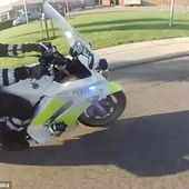 Watch as grinning teen escapes two police motorbikes on a small moped