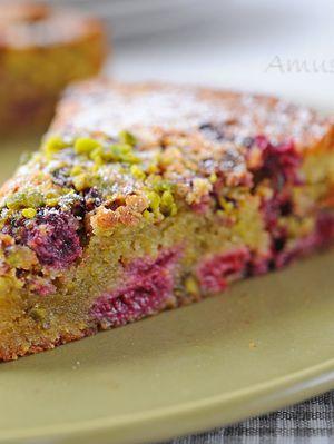 Gâteau moelleux pistache et framboise pour Clara