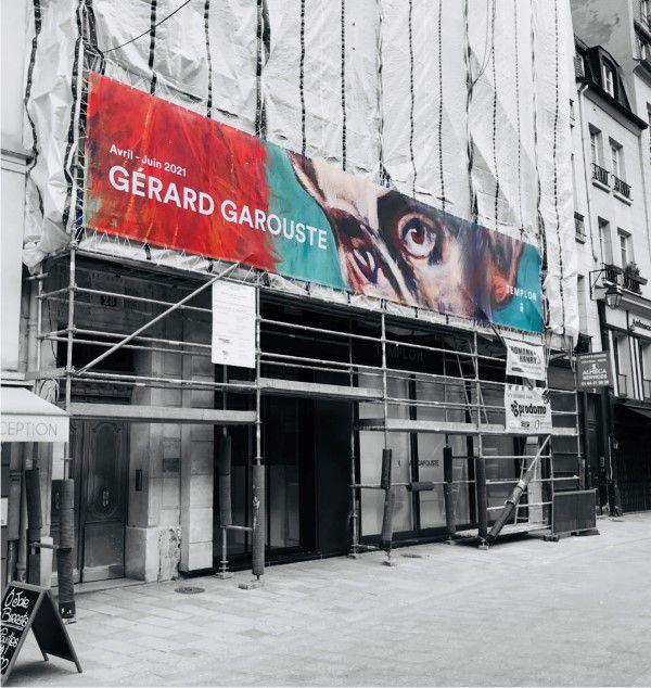 Bâche annonce expo galerie d'art.