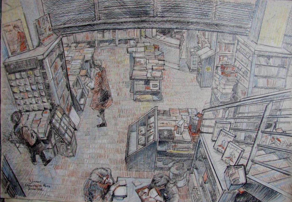 Pfuu, toujours sur le front : j'aime les livres et, hop, en 1998, j'ai dessiné chez les libraires parisiens : ça m'a donné matière à tableau jusqu'en 2000 et même au-delà