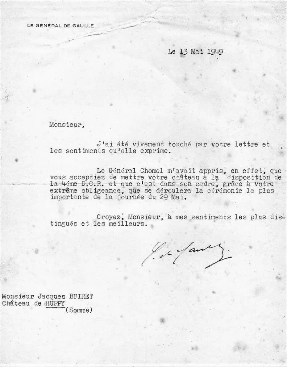 Courrier de remerciements du général De Gaulle à Monsieur Jacques Buiret propriétaire de château de Huppy pour la mise à disposition de sa propriété pour le premier rassemblement de la IV DCR à Huppy le 29 mai 1949. • © ASPACHuppy
