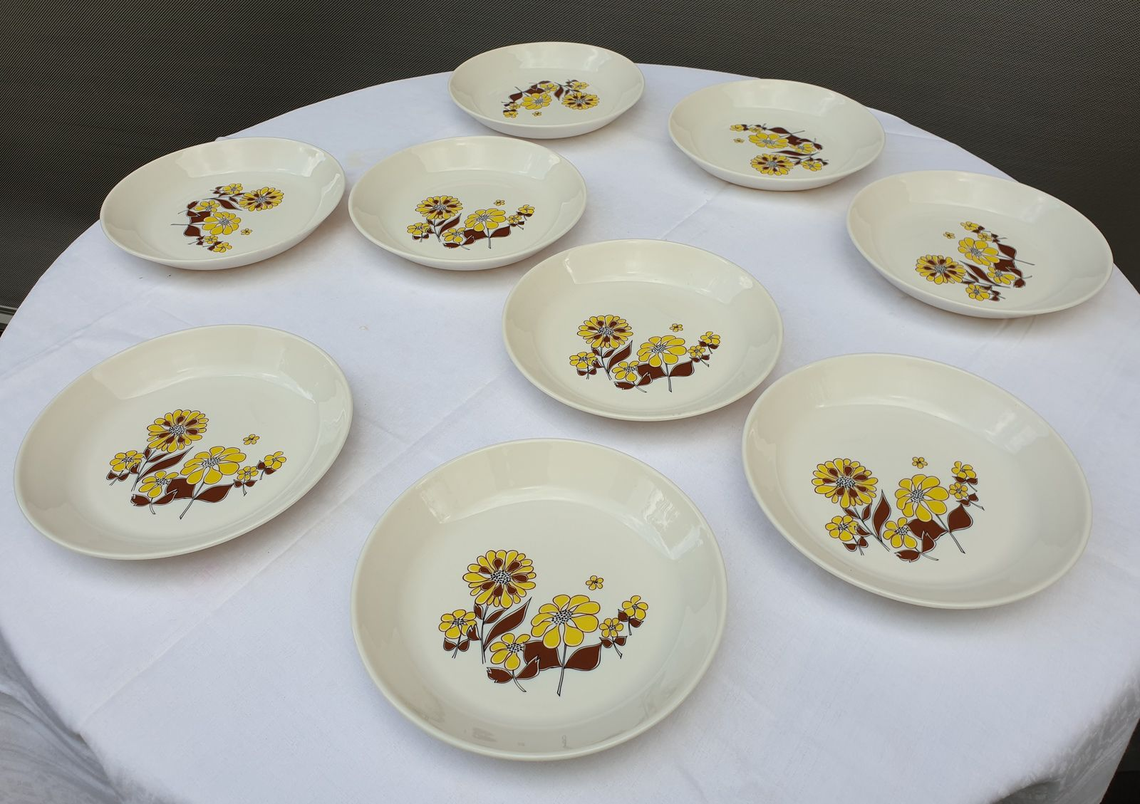 SET 9 ASSIETTES CREUSES SOVIREL 1970