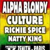 Alpha Blondy - Culture - Richie Spice - Natty King le 17 novembre au Zenith