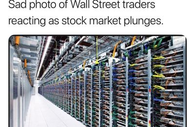 Sad photo of Wall Street traders reacting as stock market plunges