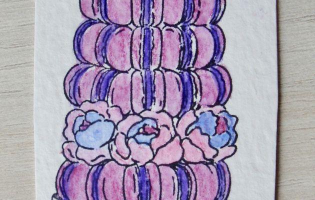 Pièce Montée de Macarons en Aquarelle