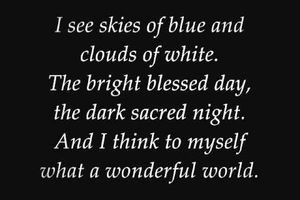 """Louis Armstrong/ """"What a wonderful world""""..."""
