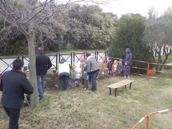 Plantations sur l'aire de jeux d'enfants à La Garde par les enfants de l'école Maternelle. Mardi 25 Novembre 2008 - le matin