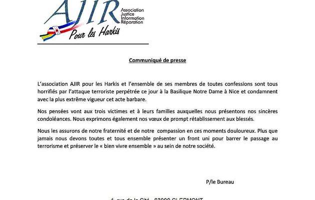 Communiqué de presse de l'Association Ajir pour les Harkis
