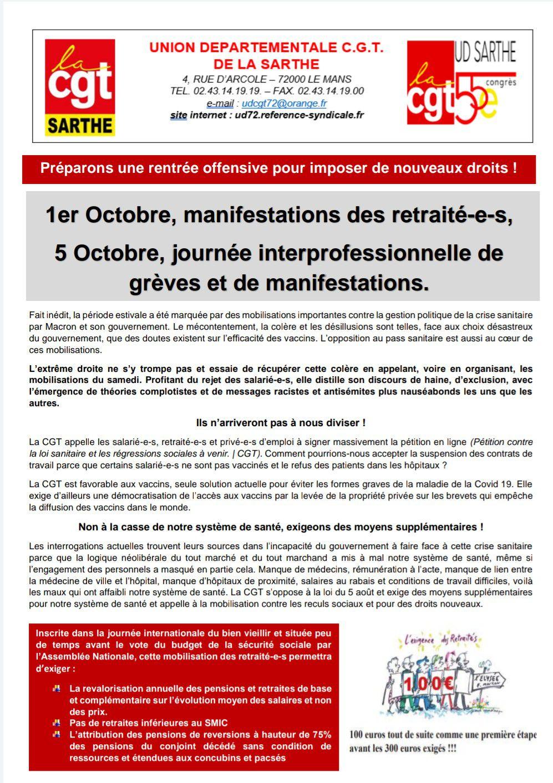 Raisons pour manifester le 5 octobre et tract ud pour actions des 1er et 5 octobre 2021