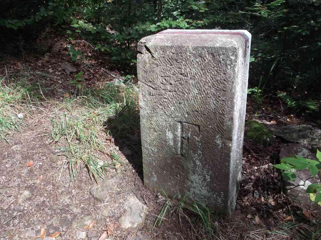 Nous longeons l'ancienne frontière entre la France et l'Empire allemand, valable entre 1871 et 1918. Elle est marquée par des bornes (F d'un côté, D de l'autre), et par un muret en pierres sèches.