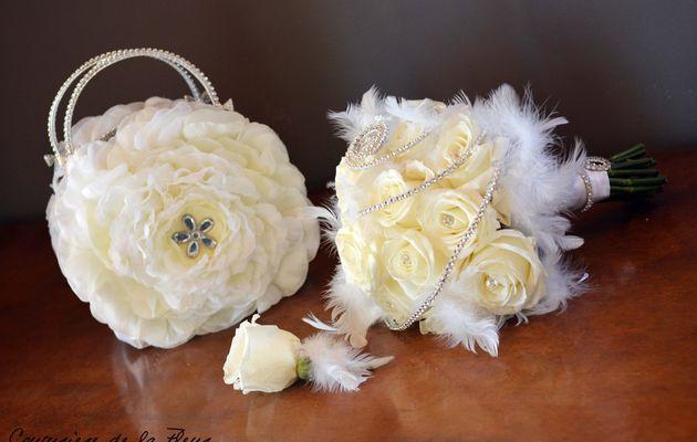 Mariage Strass & Plumes Blanc   Sac en Fleurs & Bouquet de mariée   Fleuriste Mariage Montpellier