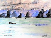 Dessins aquarellés du Vietnam